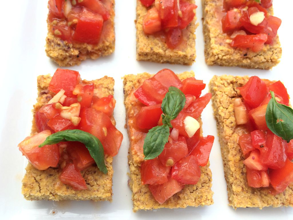 Recipe for gluten free Tomato Bruschetta made with rosemary chili cornbread