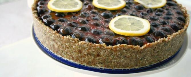 Healthy Lemon Curd Tart Recipe with Blueberries - paleo - vegan