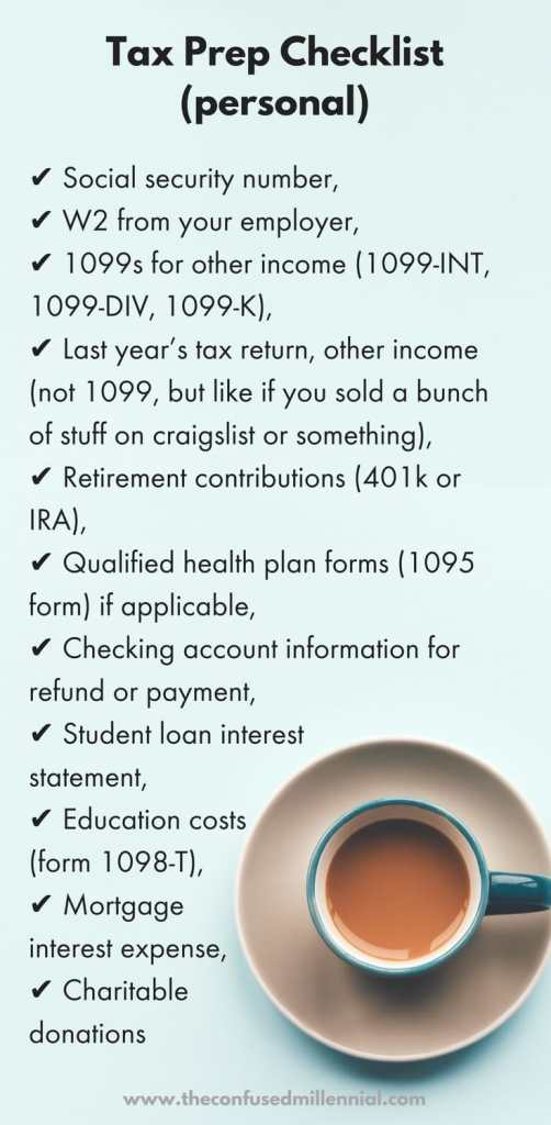 Checklist of documents for filing your personal taxes this year plus three more tax tips! #millennialblog