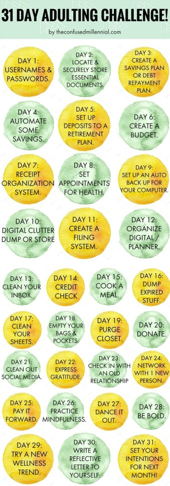 31 day adulting challenge, how to get your life together as an adult, adulting 101, #adulting, #adultingchallenge, #30daychallenge, #31daychallenge, #organizelife, organize life