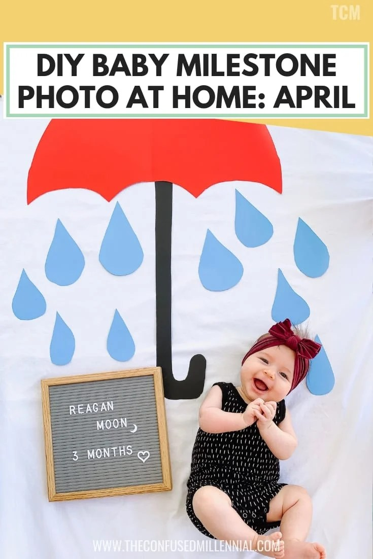 Diy baby milestone photo at home april baby monthly pictures idea with letterboard and blanket