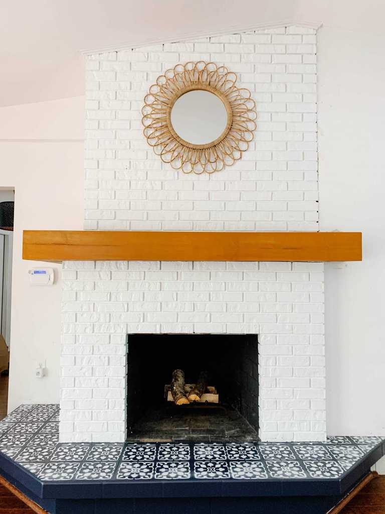 Diy Painted Brick Fireplace Makeover On A Budget Before After