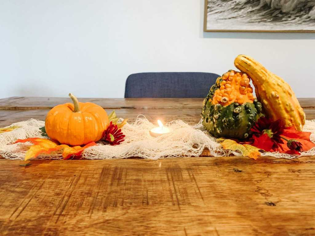 thanksgiving tablescape with pumpkins and gourds