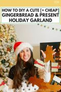 How To DIY A Cute [+ Cheap] Gingerbread & Present Holiday Garland, gingerbread decoration ideas for the holidays, gingerbread present craft ideas, cheap and easy holiday decor crafts for kids and families, easy felt and paper christmas crafts and diys for children, diy christmas garland ideas for the holiday season around the mantle or on the stair to create a beautiful backdrop for any room, #holidaycrafts, #christmascrafts, #holidaydecor, #holidaydiy