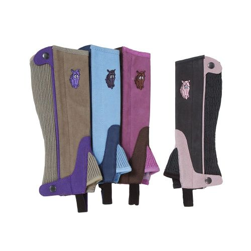 Childs Synthetic Luxury Suede Half Chaps with Embroidered Horsehead