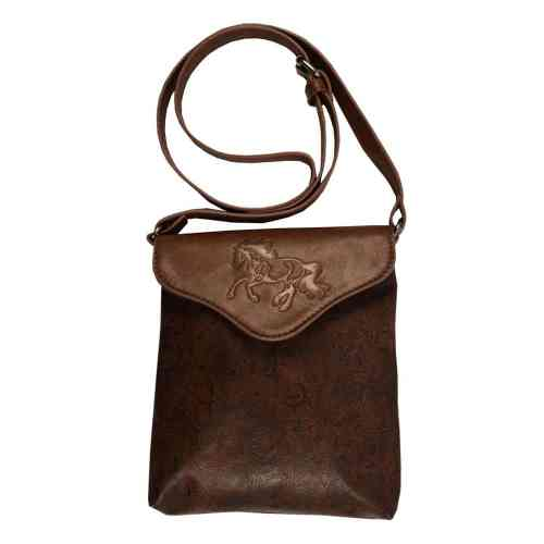 Cross Body Purse with Embossed Galloping Horse Brown