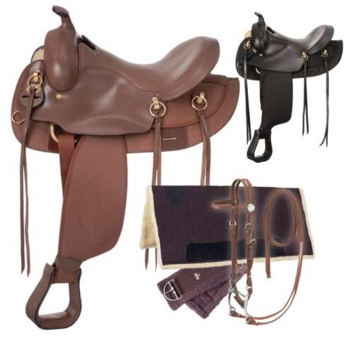 Eclipse by Tough 1 Round Skirt Gaited Saddle 5 Piece Package brown and black