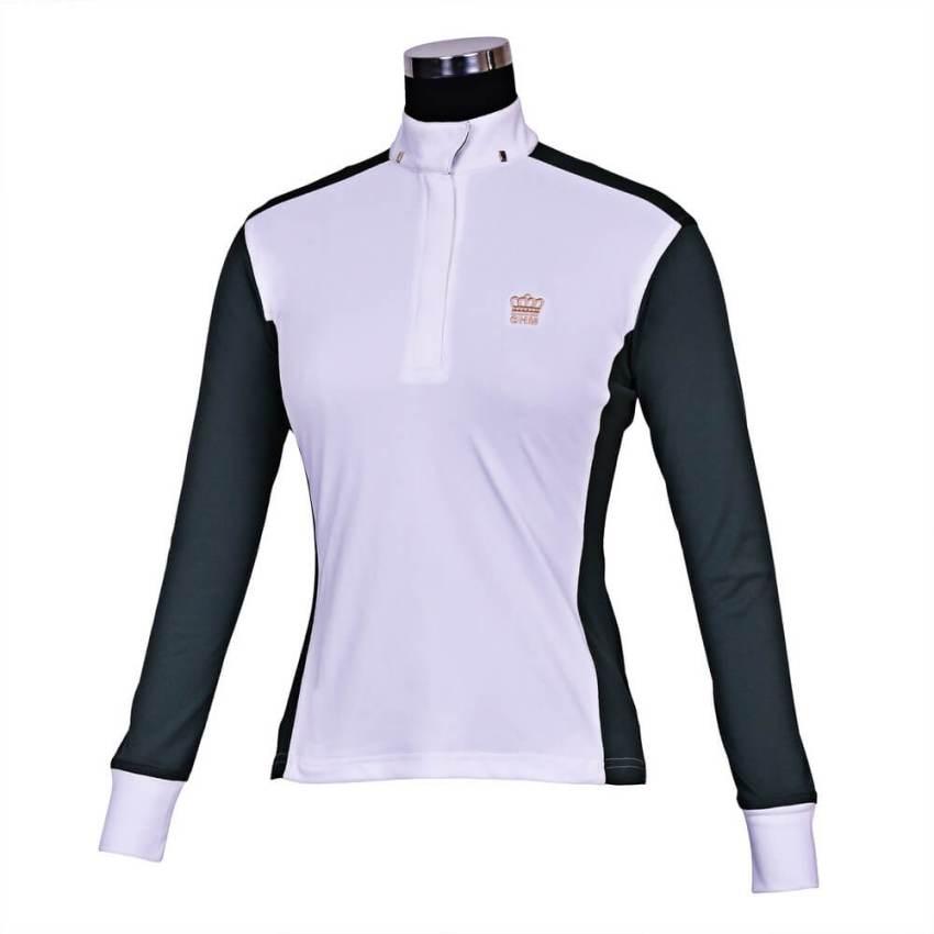 George Morris Champion Long Sleeve Show Shirt WHT/D GRN