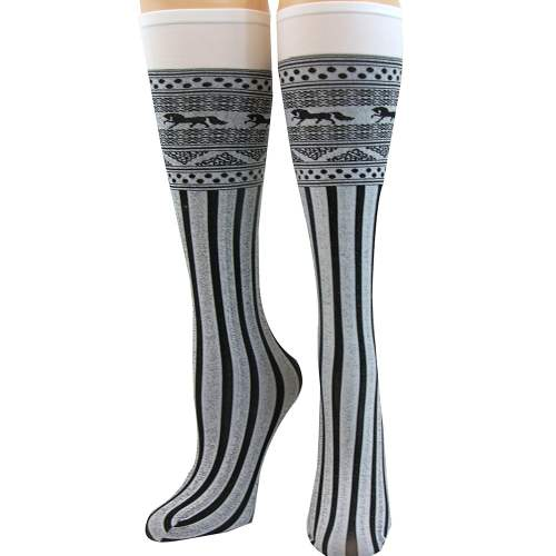 Jacquard Woven Socks Horse and Stripe Pattern White / Black Adult Female One Size