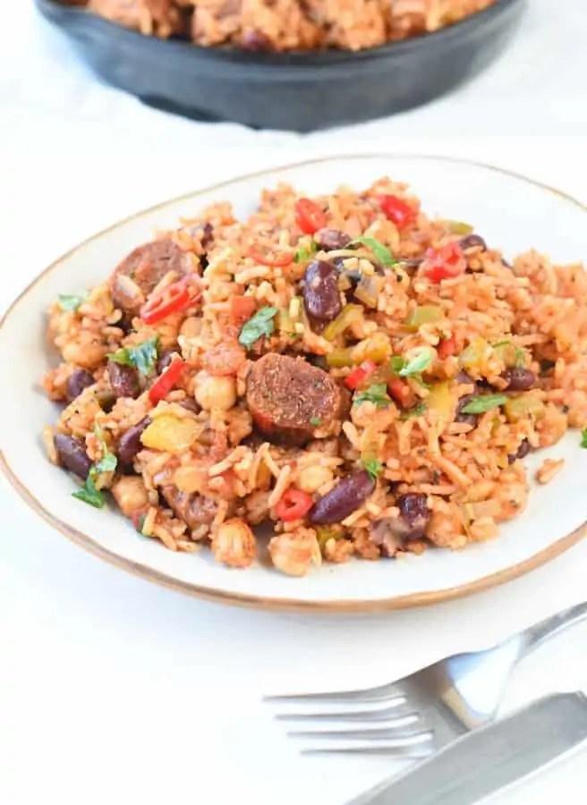 Vegan jambalaya with beans