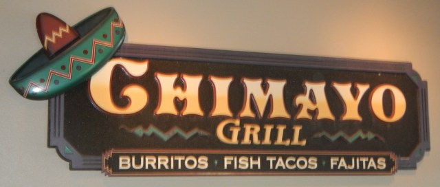 Chimayo Mexican Grill sign and logo