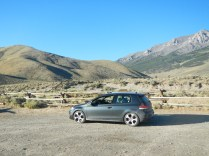 VW GTI headed down the dirt road