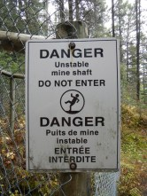 Warning sign on mine shafts
