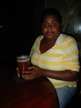 Lauren enjoying a beer
