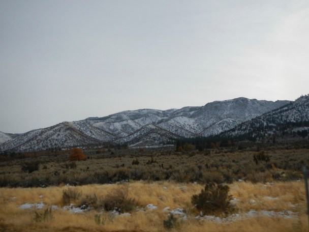 Snow covered mountains on the CA NV border