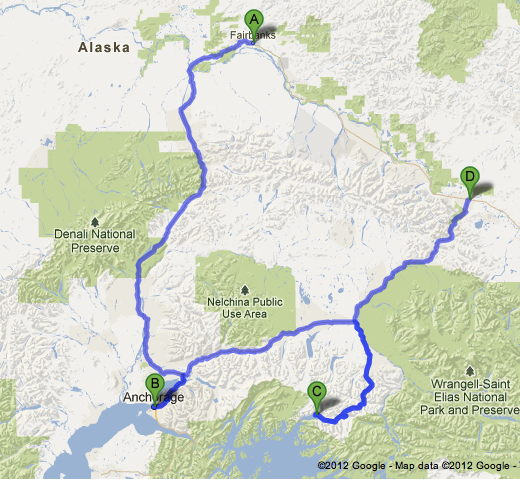 Map of the Alaska Interior Route