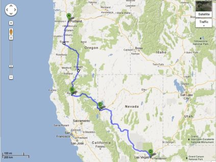 Our route from Portland to Redding to Reno To Las Vegas