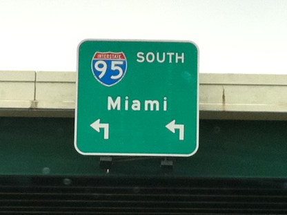 Taking I 95 South for the long drive to Miami