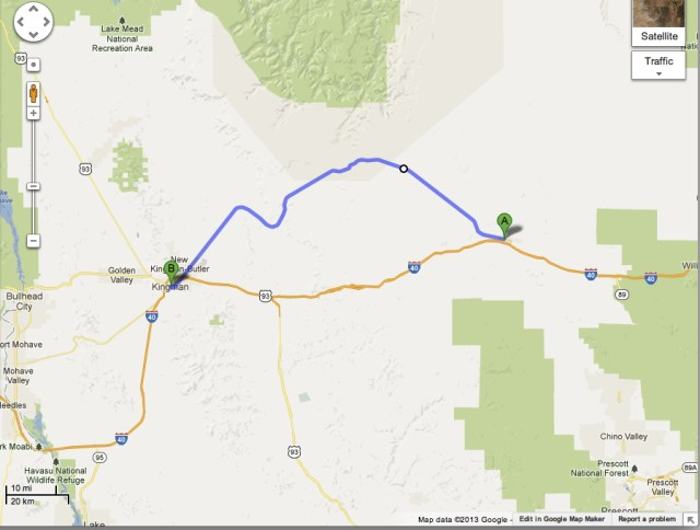 Route 66 Map From Kingman AZ to Seligman AZ