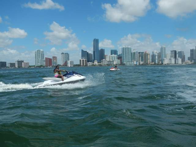 Jet skiing around Miami