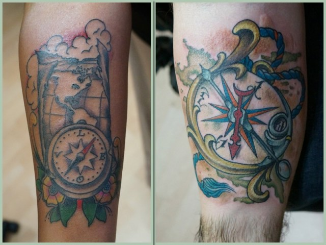 Our Compass Tattoos from Charmed LIfe