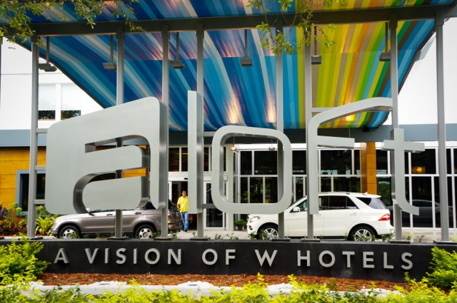 Large Sign in Front of the aloft hotel in Miami