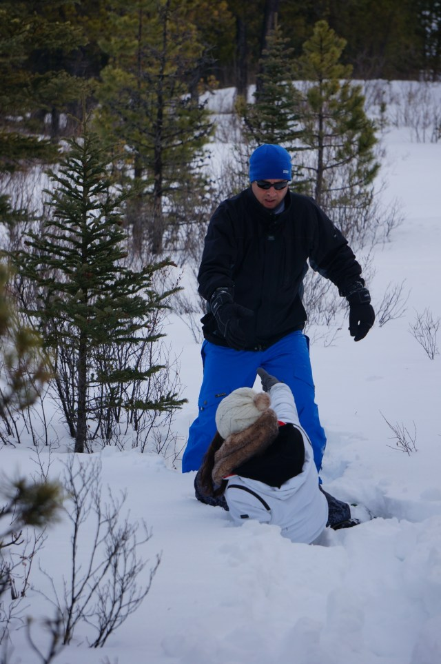 Falling while snow shoeing