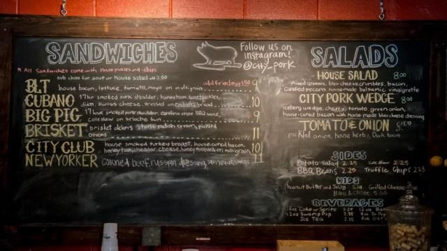 menu at City Pork Baton Rouge