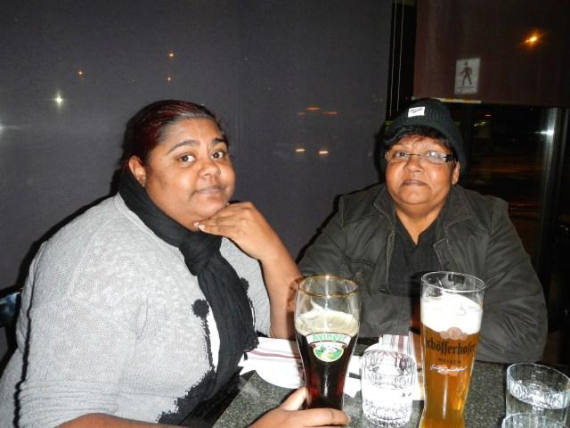 Enjoying some German food and beer