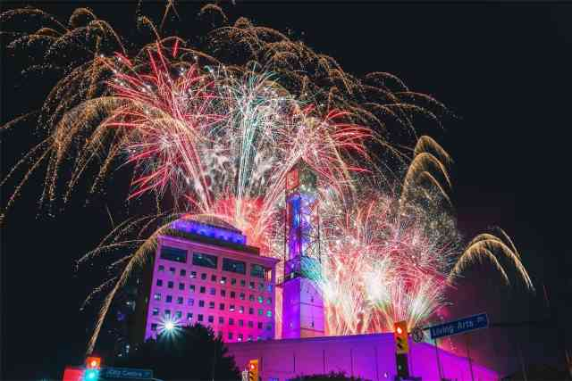 fireworks over luxury hotel
