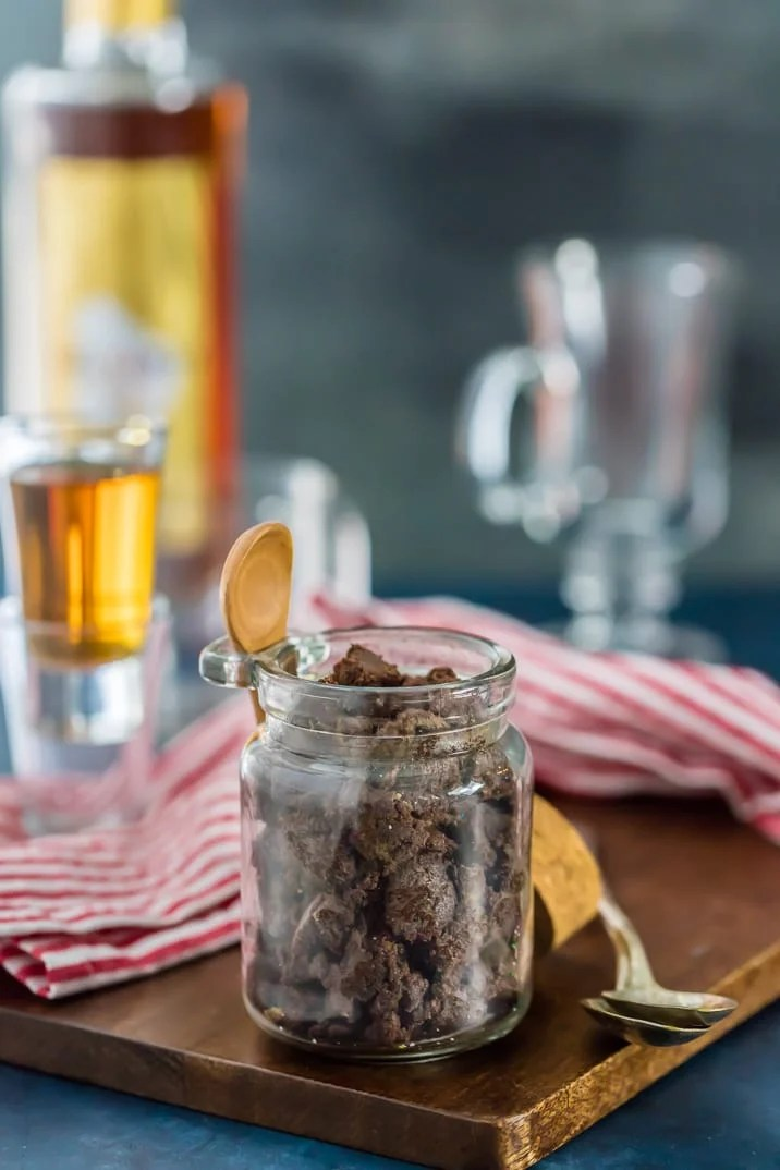 Chocolate Hot Buttered Rum Mix in a glass jar