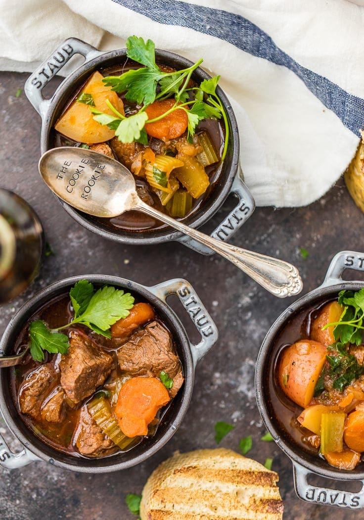 Irish beef stew in three cast iron bowls