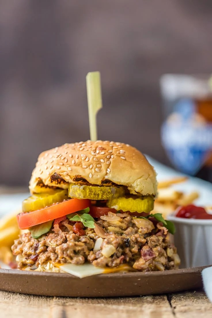 Slow Cooker Bacon Cheeseburger Sloppy Joes sandwich