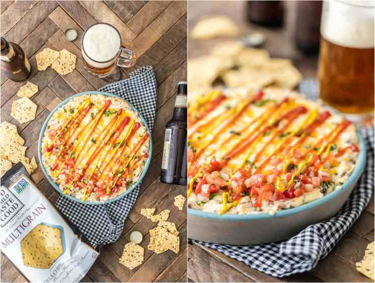 Celebrate Memorial Day and the Fourth of July with ALL AMERICAN BACON CHEESEBURGER DIP! Loaded with bacon, swiss, cheddar, hamburger, and everything else that makes cheeseburgers America's favorite food!