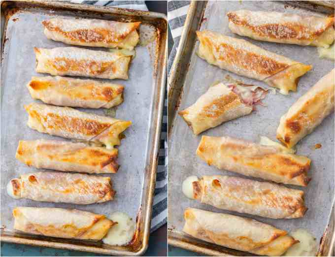 Baked Ham & Mozzarella Cheese Sticks arranged on baking trays