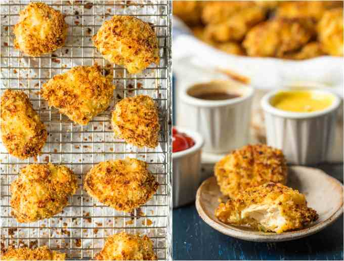 crispy baked chicken nuggets on sheet pan