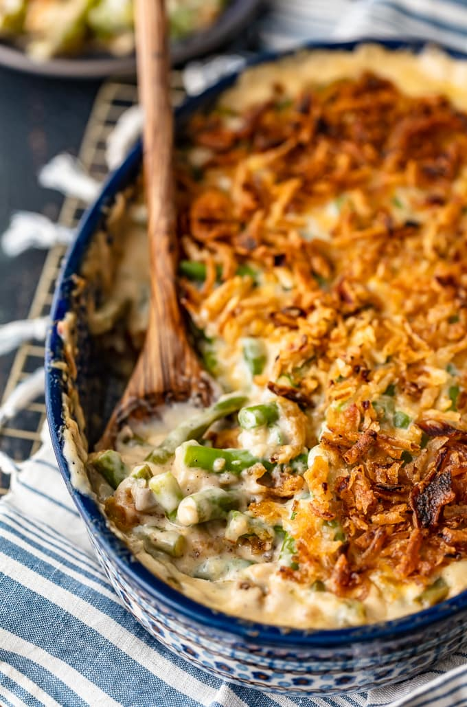 Casserole made with fresh green beans, milk, cream of mushroom soup, and crunchy fried onions
