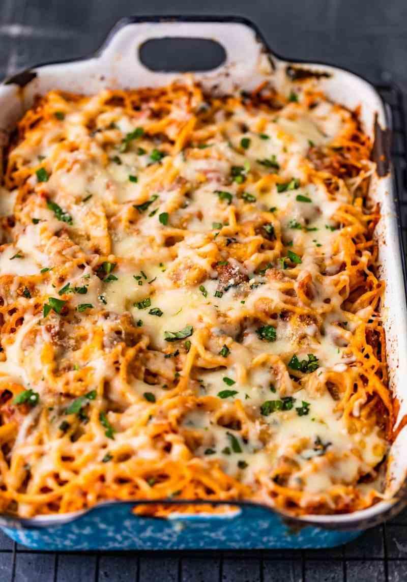 cheesy spaghetti in a baking dish
