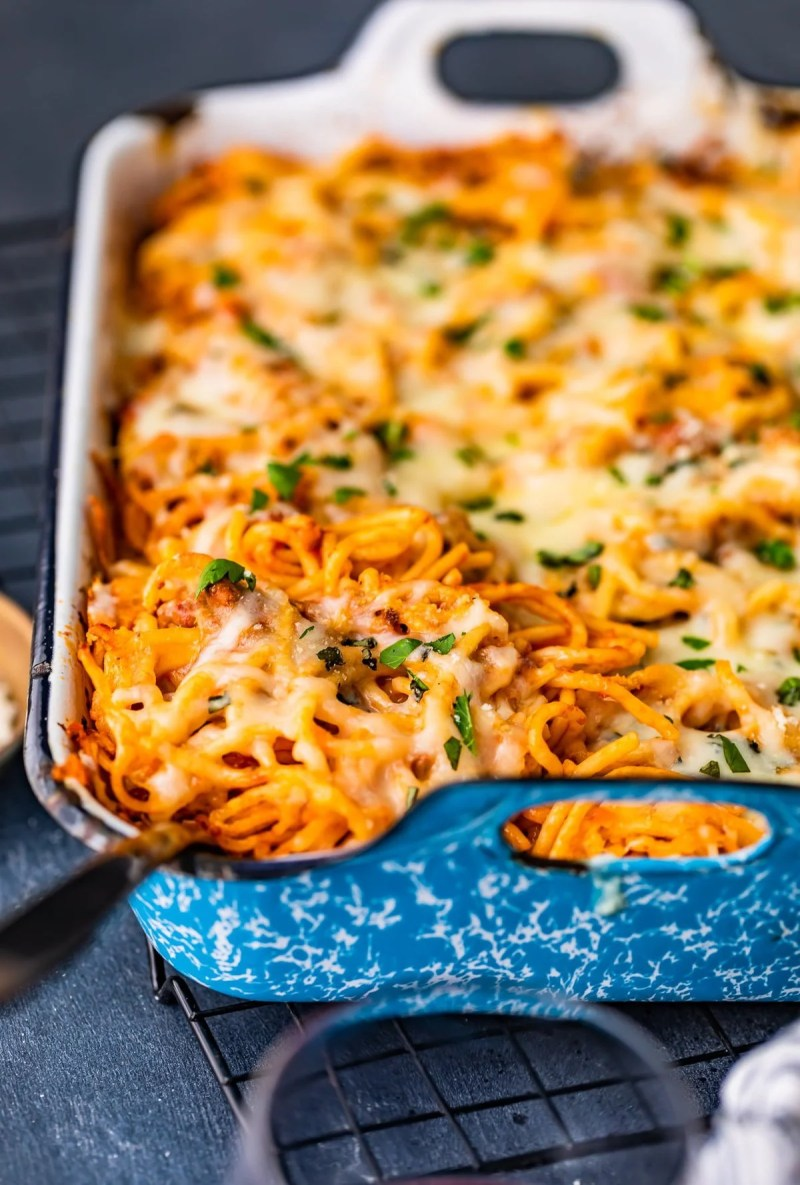 casserole dish filled with baked spaghetti