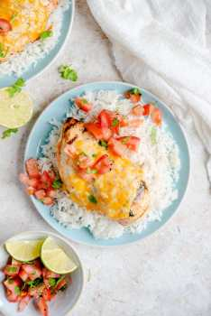 Tequila lime chicken on a blue plate