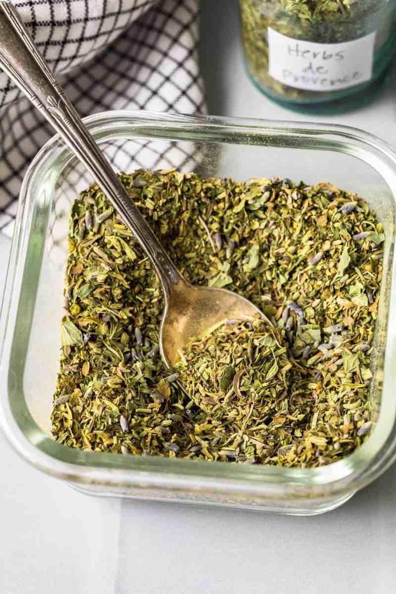 Herbs de Provence in a glass jar