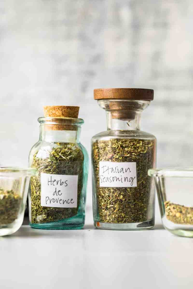 To glass bottles with herb seasoning