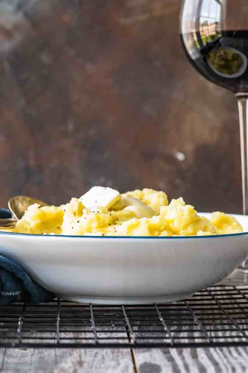 Mashed Potatoes served in a white and blue bowl