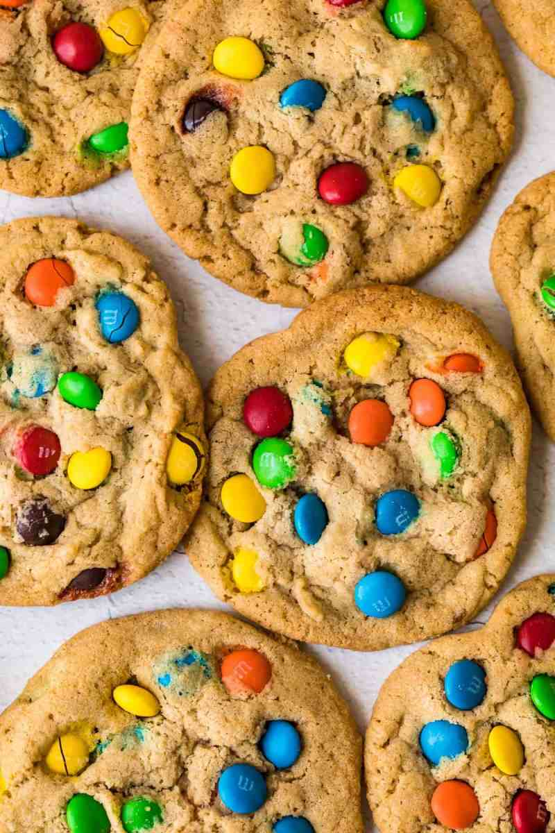 M&M Cookies on a white surface