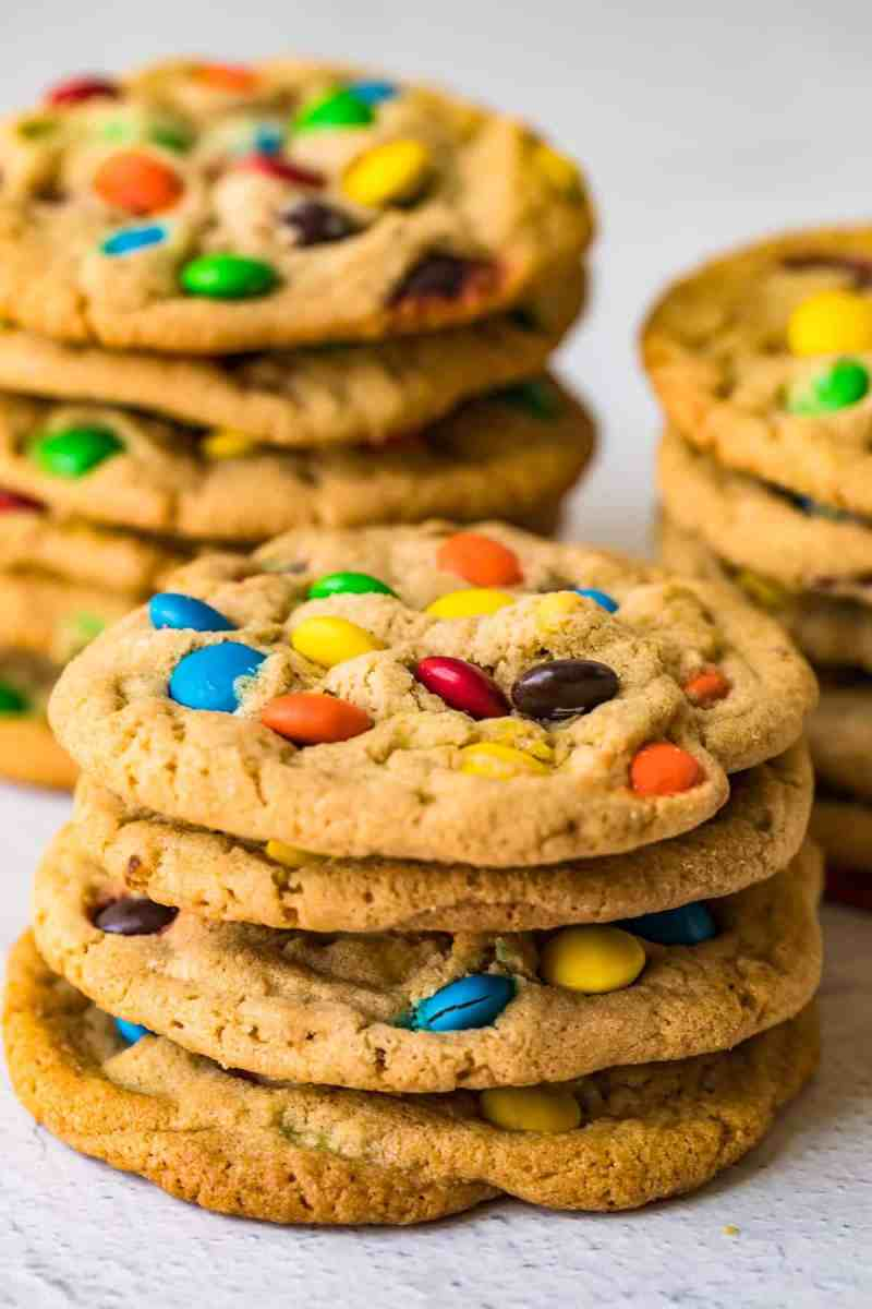 M&M Cookies stacked on top of eachother