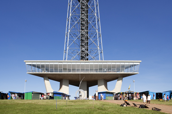 View of the base of the TV Tower, the platform and the three pil
