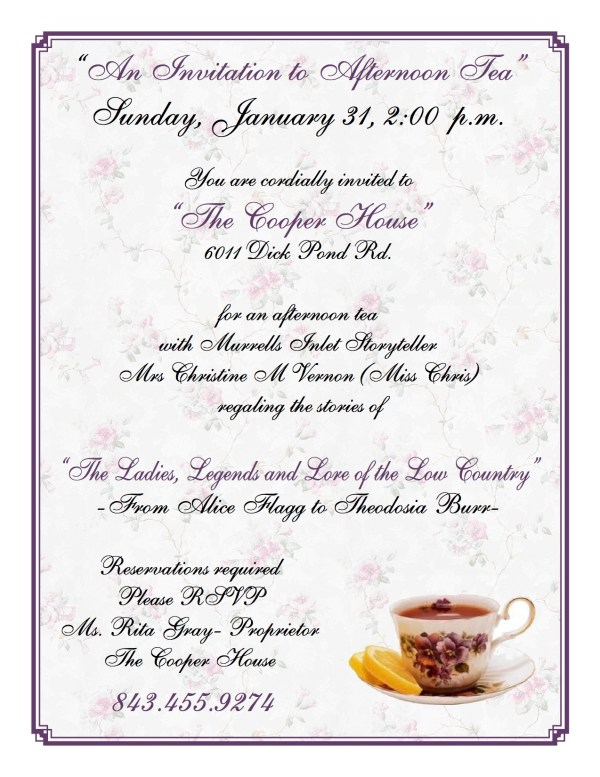2016 Cooper House Tea flyer