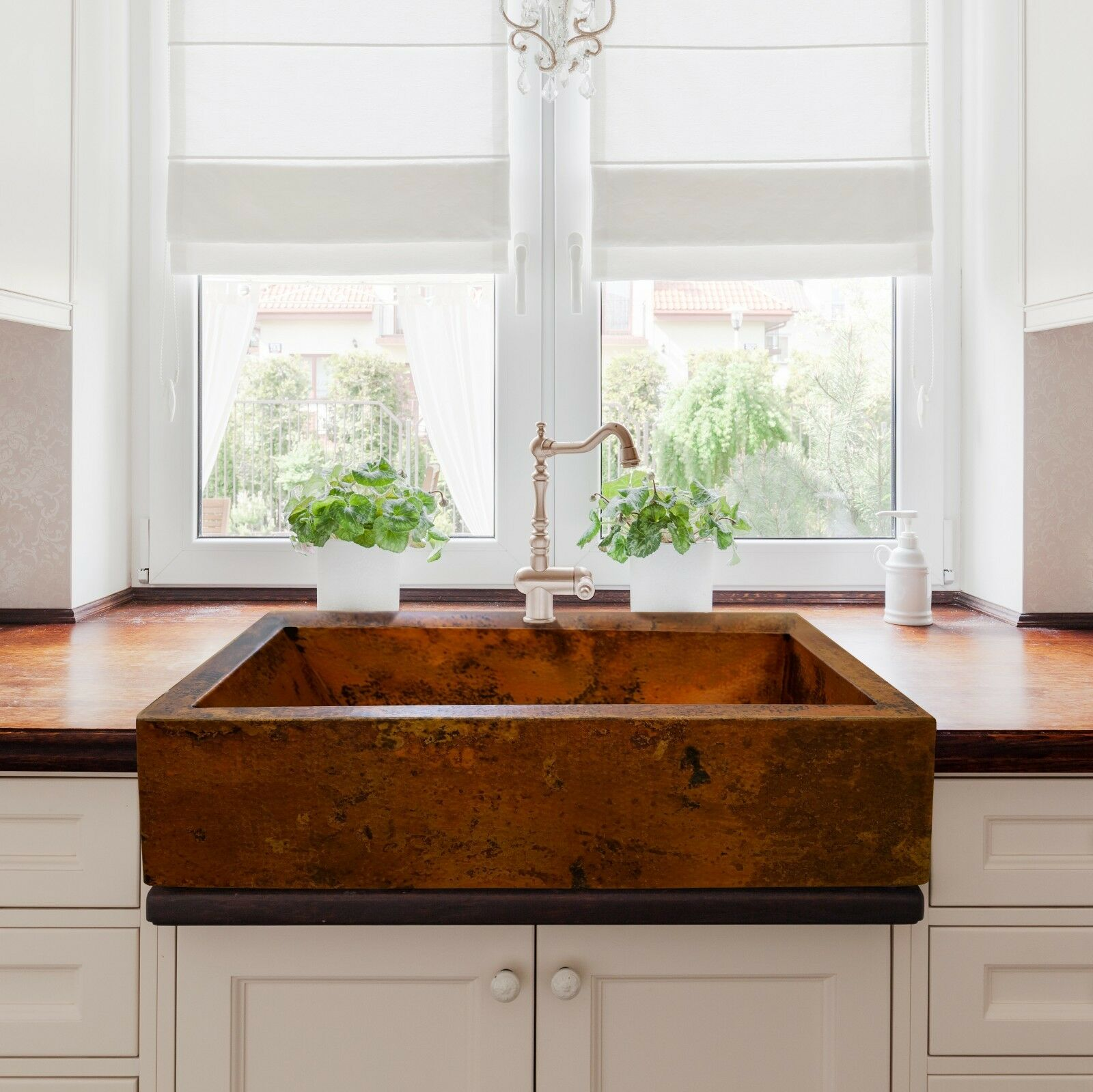 hammered copper farmhouse kitchen sink 36 x22 natural on kitchens with farmhouse sinks id=65886