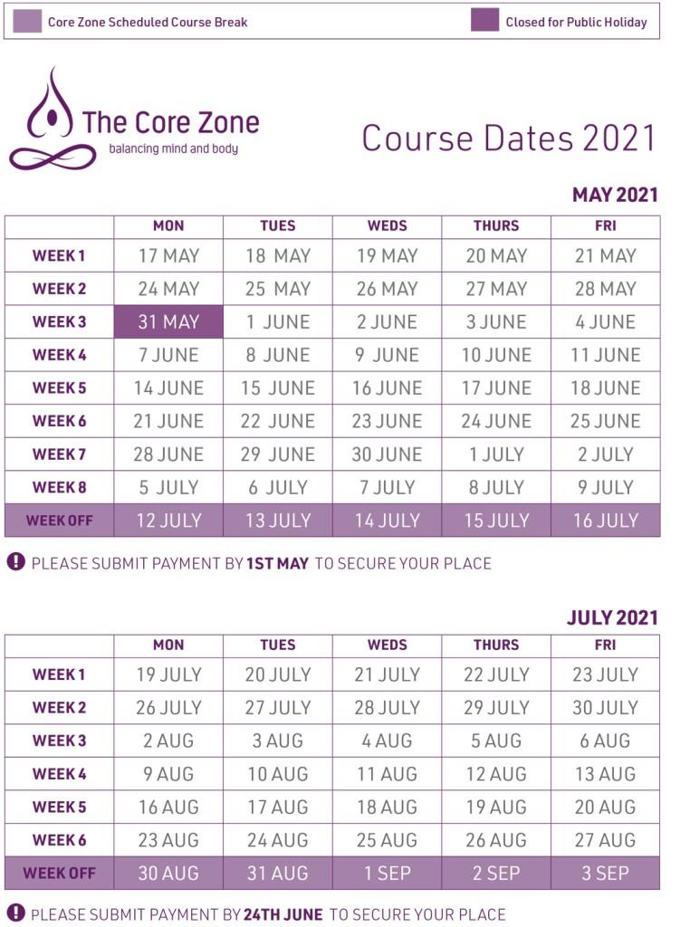 The Core Zone Course Dates