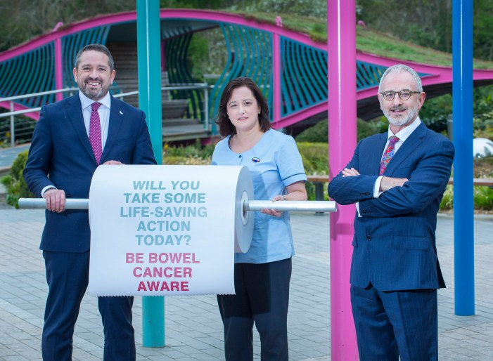 RTE Radio Newsreader Michael Murphy promotes Mercy Hospital Foundation's Bowel Cancer Awareness campaign.